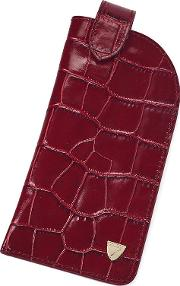 Slimline Glasses Case In Bordeaux Croc & Navy