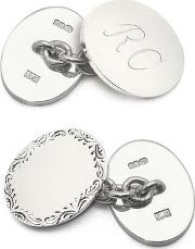 Sterling Silver Double Oval Engraved Edge Cufflinks