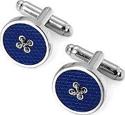 Sterling Silver Plated Button Cufflinks In Blue