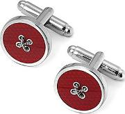 Sterling Silver Plated Button Cufflinks In Red