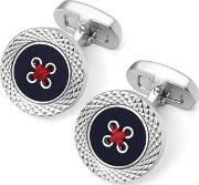 Sterling Silver Plated Engraved Edge Button Cufflinks
