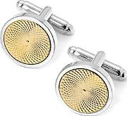 Sterling Silver Plated With Gold Plated Engraved Centre Round