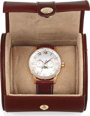 Travel Watch Roll In Smooth Cognac & Stone