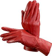 Womens Red Soft Leather Gloves