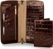 Zipped Travel Wallet With Passport Cover In Deep Shine Amazon Brown Croc & Stone
