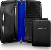 Zipped Travel Wallet With Passport Cover In Smooth Black & Cobalt Blue