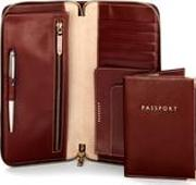 Zipped Travel Wallet With Passport Cover In Smooth Cognac & Stone