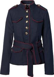 X Olivia Palermo 124 Belted Military Jacket Navy