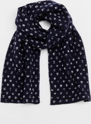 Lambswool Scarf Navy Twist Spot Men Boden