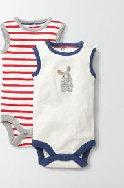 Twin Pack Vests Ivory/red Crayon Stripe Pack