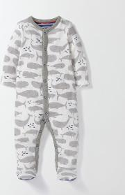 Whales Super Soft Sleepsuit Grey Whales  Boden