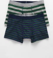 2 Pack Jersey Boxers Green Stripes Men