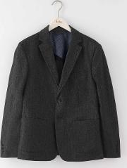 Bermondsey Patch Pocket Blazer Charcoal Herringbone Men