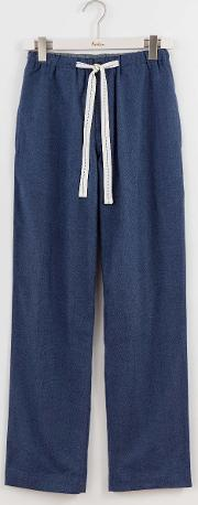 Brushed Cotton Pull Ons Blue Herringbone Men