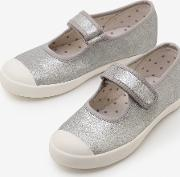 Canvas Mary Janes Silver Girls