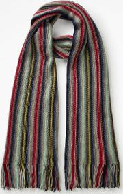 Cashmere Stripe Scarf Navy Men