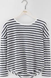 Featherweight Relaxed Tee Ivory/navy Stripe Women