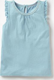 Flutter Sleeve Jersey Top Blue Girls