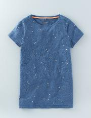 Foil Print Tee Denim Marl Scattered Spot Women