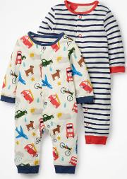 Fun Twin Pack Rompers Ivory