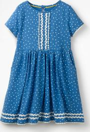 Heart Print Jersey Dress Blue Girls