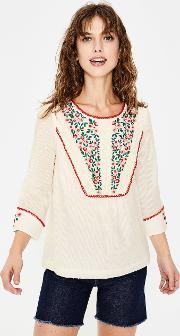 Kelsey Embroidered Blouse Ivory Women