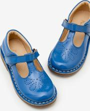 Leather T Bar Flats Blue Girls