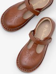 Leather T Bar Flats Brown Girls