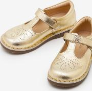 Leather T Bar Flats Gold Girls