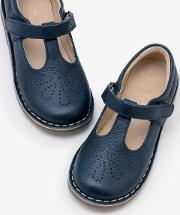 Leather T Bar Flats Navy Girls