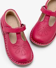 Leather T Bar Flats Pink Girls