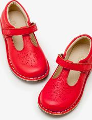 Leather T Bar Flats Red Girls
