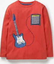 Music Applique T Shirt Red Boys