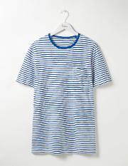 Slub Stripe Crew Off White/winter Blue Stripe Men