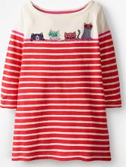 Stripy Applique Tunic Red Girls