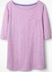 The Cotton Boat Neck Tee Purple Women Boden