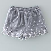 Broderie Shorts Pale Blue Chambray/ecru Girls Boden