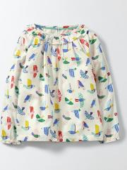 Pretty Printed Woven Top Multi Mini Painted Birds Girls Boden
