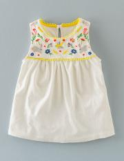 Field Friends Embroidered Top Snowdrop Girls Boden