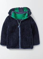Reversible Shaggy Hoody Mystic And Astro Green Stripe Boys Boden