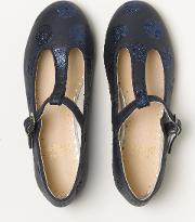 Spotty T Bar Flats Navy/glitter Girls Boden