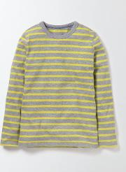Supersoft T Shirt Grey Marl/cantaloupe Stripe Boys Boden