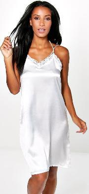 lace trim babydoll with skinny straps cream