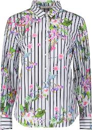 Betty Barclay Dark Blue Multi Stripe And Floral Cotton Stretch Shirt
