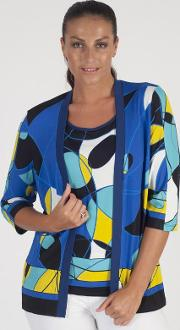 Domina Blue Abstract Jersey Print Cardigan