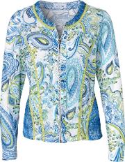 Just White Blue Ls Paisley Print Cardigan With Lime Trim