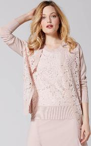Soft Peach V Neck Cardigan With Corded Lace Bodice