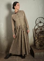 Beige full length dress with long sleeves