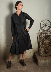 Black long tunic with side box pleats