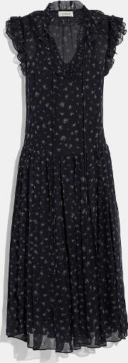 Scattered Rose Print Pleated Dress
